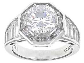 Pre-Owned Cubic Zirconia Silver Ring 7.84ctw (3.95ctw DEW)
