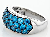 Pre-Owned Blue Cubic Zirconia Rhodium Over Sterling Silver Ring 4.90ctw