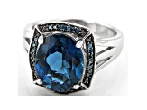 Pre-Owned London Blue Topaz Rhodium Over Sterling Silver Ring 5.19ctw