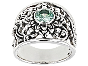 Pre-Owned Lab Created Green Spinel Sterling Silver Ring .86ct