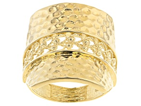 Pre-Owned 18k Yellow Gold Over Sterling Silver Filigree Hammered Ring