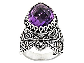 Pre-Owned Amethyst Sterling Silver Ring