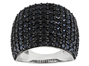 Pre-Owned Black Spinel Rhodium Over Sterling Silver Ring 4.02ctw