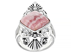 Pre-Owned Rhodochrosite Rhodium Over Silver Solitaire Ring