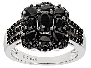 Pre-Owned Black Spinel Rhodium Over Silver Ring 1.96ctw