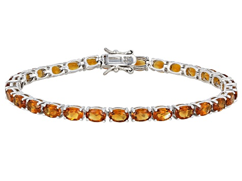 Pre-Owned Orange citrine rhodium over sterling silver tennis bracelet 11.52ctw