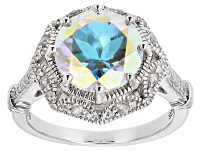 Pre-Owned Multi-color Mercury Mist® Topaz Rhodium Over Sterling Silver Ring 4.07ctw