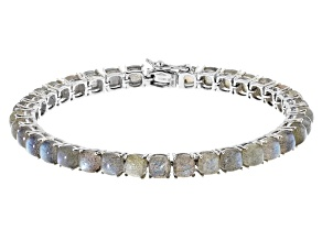 Pre-Owned Gray Labradorite Rhodium Over Sterling Silver Bracelet