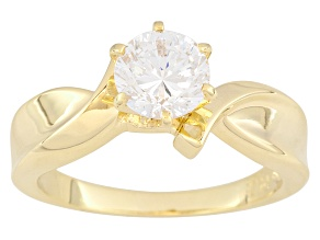 Pre-Owned Cubic Zirconia 18k Yellow Gold Over Silver Ring
