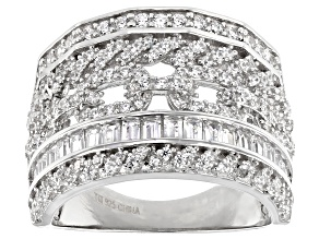 Pre-Owned White Cubic Zirconia Rhodium Over Sterling Silver Ring 2.71ctw