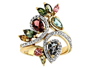 Pre-Owned Multicolor tourmaline 18k yellow over silver ring 1.85ctw