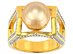 Pre-Owned Golden Cultured South Pearl 10mm And White Topaz 0.78ctw 18k Yellow Gold Over Sterling Sil