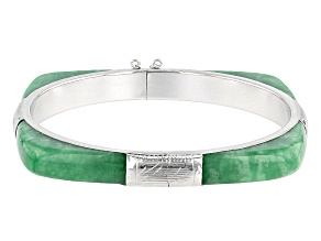 Pre-Owned Green Jadeite Rhodium Over Sterling Silver Hinged Bangle Bracelet