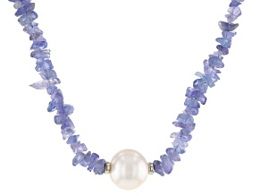Pre-Owned Tanzanite Free-from Rhodium Over Silver Necklace