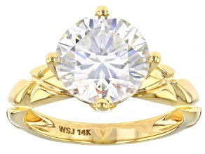 Pre-Owned Moissanite 14k yellow gold solitaire ring 3.60ct DEW.