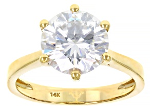 Pre-Owned Moissanite 14k yellow gold solitaire ring 3.10ct DEW.