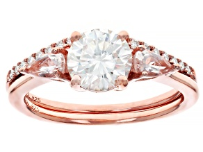 Pre-Owned Moissanite and Morganite 14k Rose Gold Over Silver Ring With Band 1.39ctw DEW.