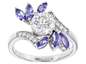Pre-Owned Moissanite and tanzanite platineve ring 1.30ctw DEW.