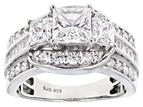 Pre-Owned White Cubic Zirconia Rhodium Over Sterling Silver Ring 4.70ctw (2.89ctw DEW)