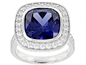 Pre-Owned Blue And White Cubic Zirconia Rhodium Over Sterling Silver Ring 12.96ctw
