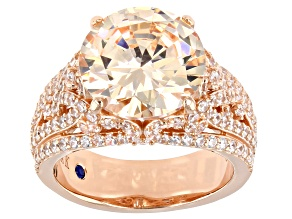 Pre-Owned Champagne And White Cubic Zirconia 18k Rose Gold Over Sterling Silver Ring 12.40ctw