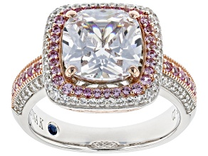 Pre-Owned Lab Pink Sapphire And White Cubic Zirconia Platineve ® And 18k Rose Gold Over Sterling Rin