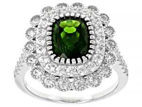 Pre-Owned Green Russian Chrome Diopside Rhodium Over Sterling Silver Ring 3.70ctw