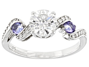 Pre-Owned Moissanite And Tanzanite Platineve Ring 1.20ctw DEW.