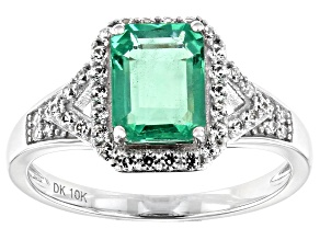 Pre-Owned Green Emerald Rhodium Over 10k White Gold Ring 1.80ctw