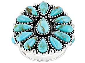 Pre-Owned Turquoise Rhodium Over Silver Cluster Ring