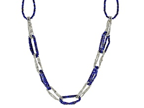 Pre-Owned Blue Lapis Lazuli and Gray Labradorite Rhodium Over Sterling Silver Necklace