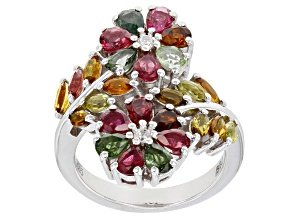 Pre-Owned Multi Tourmaline Rhodium Over Sterling Silver Ring 3.36ctw