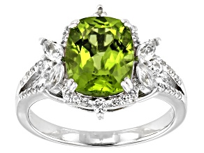 Pre-Owned Green Peridot Rhodium Over Silver Ring 3.32ctw