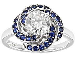 Pre-Owned Moissanite And Blue Sapphire Platineve Ring 1.20ct DEW.