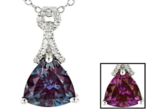 Pre-Owned Color Change Lab Created Alexandrite Rhodium Over Sterling Silver Pendant With Chain 2.91c
