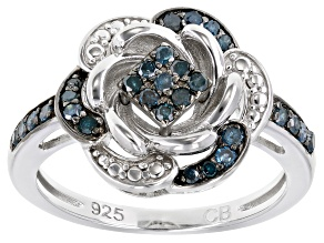 Pre-Owned Blue Diamond Rhodium Over Sterling Silver Ring 0.25ctw