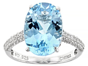 Pre-Owned Blue topaz rhodium over silver ring 6.67ctw