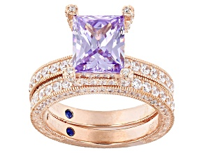Pre-Owned Purple And White Cubic Zirconia 18k Rose Gold Over Silver Ring And Band 8.21ctw