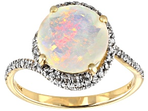 Pre-Owned Ethiopian Opal 14K Yellow Gold Ring 1.98ctw