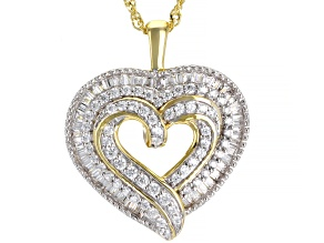 Pre-Owned White Cubic Zirconia 18k Yellow Gold Over Sterling Silver Heart Pendant With Chain 2.00ctw