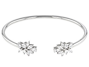 Pre-Owned White Cubic Zirconia Rhodium Over Sterling Silver Flower Bangle 3.39ctw
