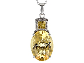 Pre-Owned Yellow Citrine Sterling Silver Pendant With Chain 7.05ctw