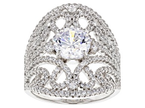Pre-Owned White Cubic Zirconia Rhodium Over Silver Ring 3.85ctw
