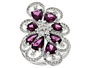 Pre-Owned Raspberry color rhodolite over sterling silver ring 5.81ctw