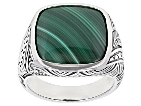 Pre-Owned Malachite Silver Hawaiian Inspired Design Solitaire Ring