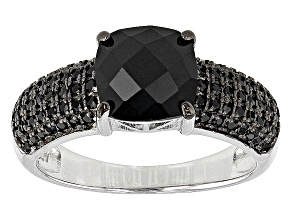Pre-Owned Black Spinel Rhodium Over Sterling Silver Ring 2.92ctw