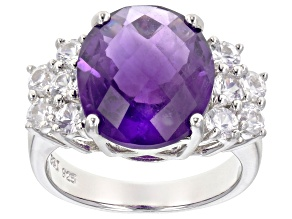 Pre-Owned Purple African amethyst sterling silver ring 7.57ctw