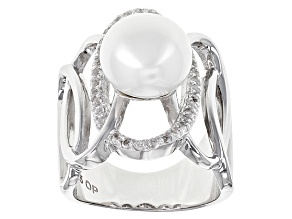 Pre-Owned Cultured Freshwater Pearl With Topaz Rhodium Over Sterling Silver Ring