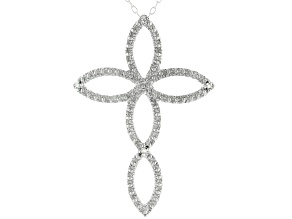 Pre-Owned White Diamond Accent Rhodium Over Sterling Silver Cross Pendant With Cable Chain