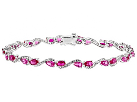 Pre-Owned Red Lab Created Ruby Rhodium Over Sterling Silver Bracelet 7.38ctw